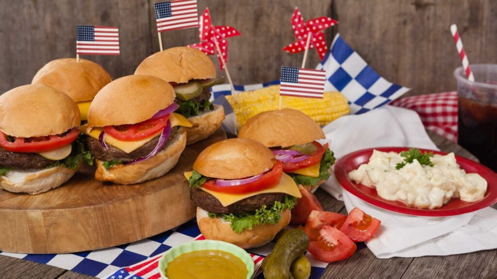 US flags with hamburgers